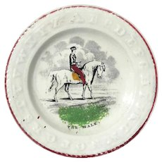 Staffordshire Child's Alphabet Plate Titled The Walk