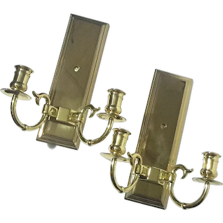 Pair Of Baldwin Solid Brass Two Arm Candle Sconces