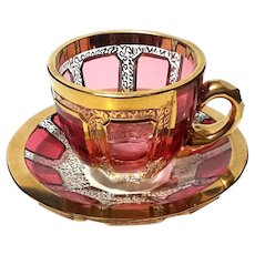 Moser Gilt Gold Ruby Cabochon Cup And Saucer