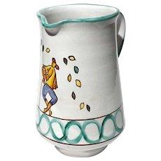 Italian Faience Glazed Pottery Pitcher