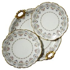JP Pouyat Limoges Handled Cake Plate And Two Desert Plates