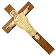 Vintage Wood And Celluloid Crucifix