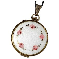 Enameled Compact With Filigree Interior