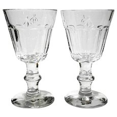 Pair Of Amici Faceted Goblets With Bee