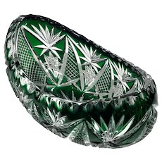 Bohemian Glass Emerald Green Cut To Clear Crystal Bowl