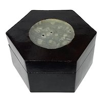 Chinese Lacquer Box With Jade Inset