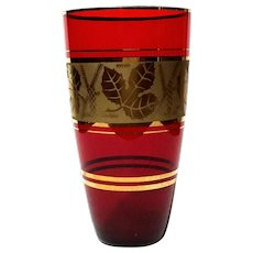 Venetian Murano Red Glass Vase With Gold Band
