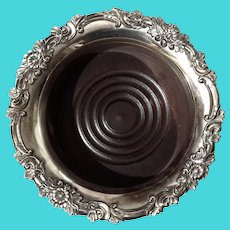 Silverplate Wine Coaster With Wooden Base