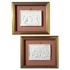 Pair Of Custom Framed Antique Plaster Cherub Plaques