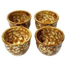 Set Of Four Yellow Spongeware Custard Cups