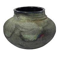 Artist Signed Raku Art Pottery Vase