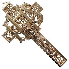 Vintage Gilt Metal Crucifix