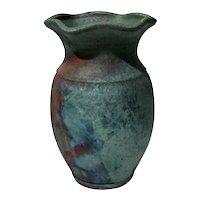 Large Artist Signed Raku Art Pottery Vase