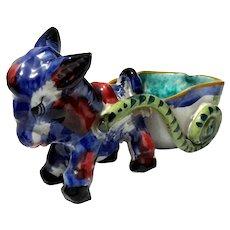 Italian Faience Glazed Terracotta Pottery Donkey