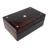 Antique Wooden Box With Mother-Of-Pearl Inlay