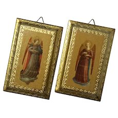 Pair Of Florentine Gilt Wood Angel Plaques