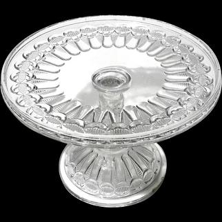 Thompson Glass Company EAPG American Bowtie Pedestal Cake Stand,  Circa 1889