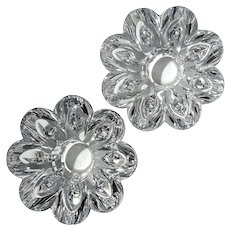 Pair Of Orrefors Crystal Flower Votive Candle Holders