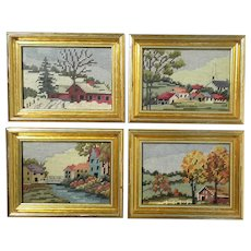 Four Seasons Framed Needlepoint Pictures