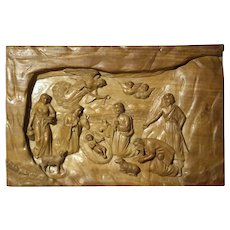 Carved Nativity Wooden Panel