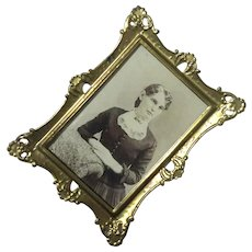 19th Century Photo In Original Gold Metal Frame