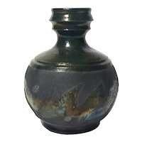 Raku Pottery Vase Signed Claude