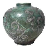 Raku Pottery Vase Signed GR