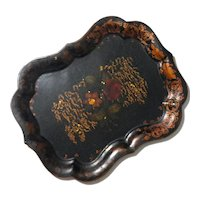 Large Floral Tole Tray,  Circa 1850
