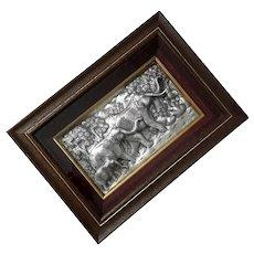 Framed Aluminum Elephant Relief