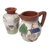 Redware Pottery Miniature Vase And Pitcher