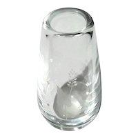Orrefors Art Glass Etched Leaf Vase By Sven Palmqvist