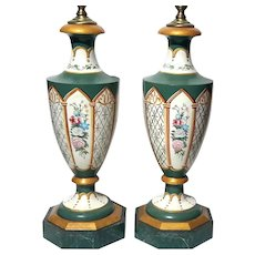 Pair Of Painted Wood Faux Marble And Tole Lamps