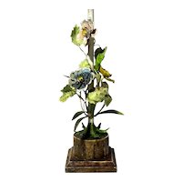 Italian Gilt Wood And Tole Painted Metal Flower Lamp
