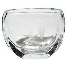 Scandinavian Etched Bird Of Paradise Art Glass Vase