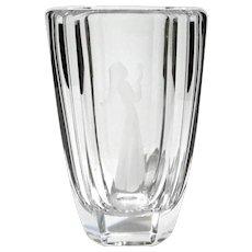 Large Vintage Signed Orrefors Etched Crystal Vase
