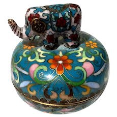 Chinese Cloisonne Box With Elephant
