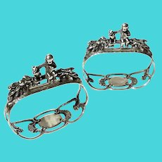 Pair Of Labors of Cupid Figural 835 Silver W. Germany Napkin Rings