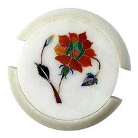 Set Of Six Italian Pietra Dura Marble Coasters