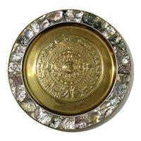 Mexican Brass & Abalone Inlaid Myan Calendar Tray