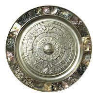 Mexican Silverplate & Abalone Inlaid Myan Calendar Tray