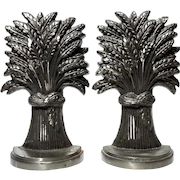 Pair Of English Steel Wheat Sheaths Bookends