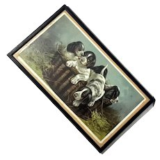 Antique Lithograph Of Puppies In A Basket, Circa 1894