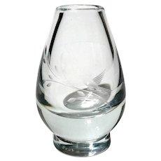 Orrefors Etched Crystal Vase