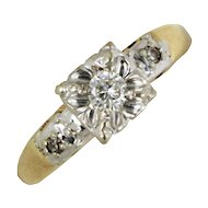 Art Deco Diamond Solitaire Ring in White and Yellow Gold