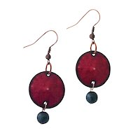 Red Enamel Copper Disc Earrings