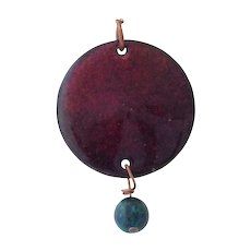 Red Enamel Copper Disc Pendant
