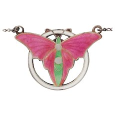 Art Deco Butterfly Champleve Enamel Sterling Silver Necklace