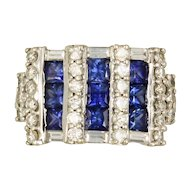 Sapphire and Diamond 18kt White Gold Ring