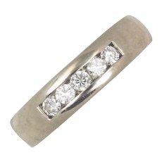 Men's Diamond 14kt White Gold Wedding Ring