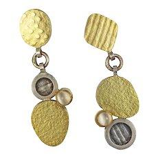 Modernist De Novo 18kt Gold and Silver Dangle Earrings